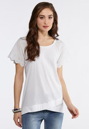 Plus Size Eyelet Sleeve Top