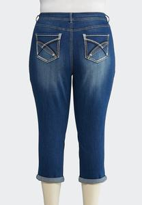 Plus Size Cropped Stitch Pocket Jeans
