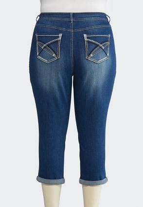 Plus Size Cropped Stitch Pocket Jeans