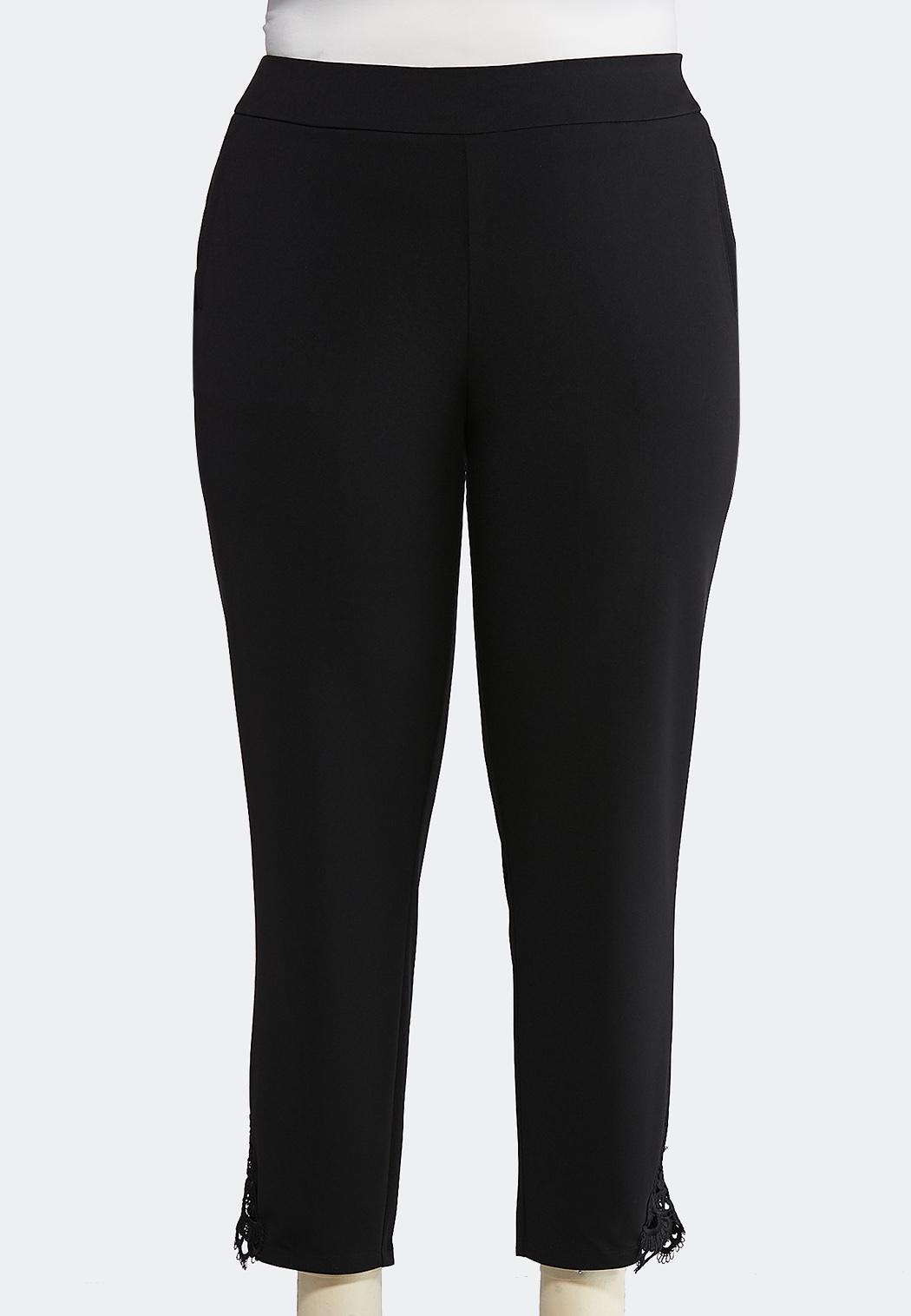 6bd1b1f0f4 Plus Size Slim Crochet Hem Pants Pants Cato Fashions
