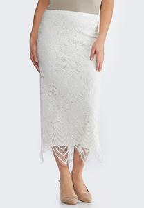 Plus Size Scalloped Lace Skirt