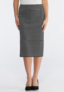 Plus Size Stripe Scuba Pencil Skirt