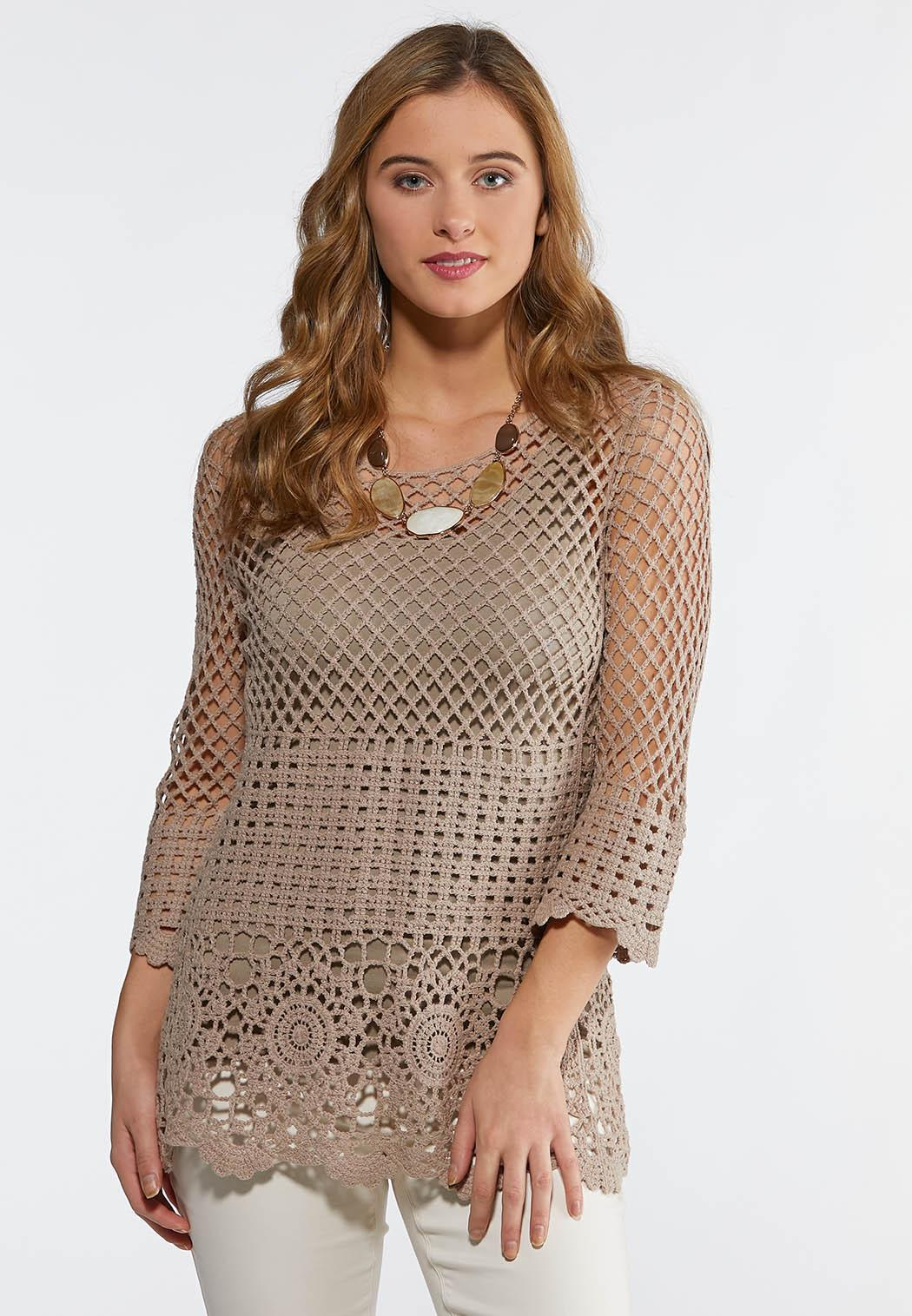 65118220a4f6e6 Plus Size Crochet Bell Sleeve Top Shirts & Blouses Cato Fashions
