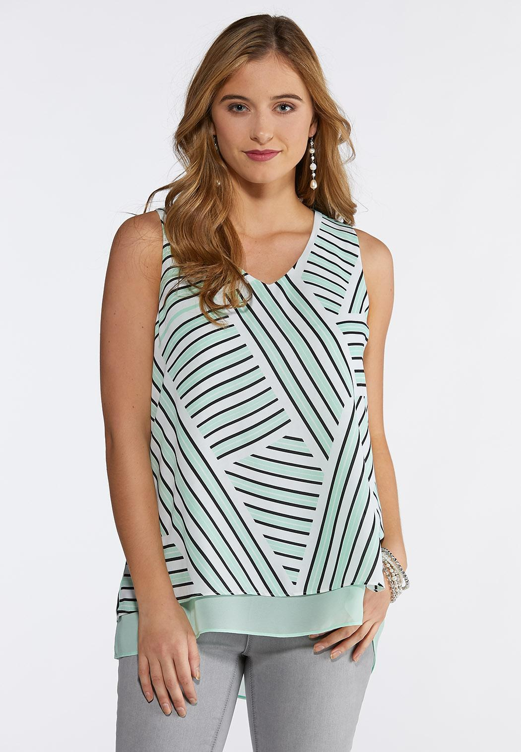 Double Layer Printed V-Neck Tank