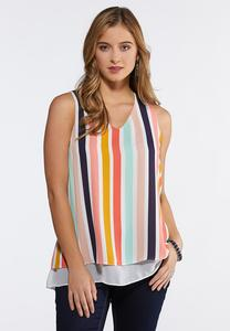 Plus Size Double Layer Striped Tank