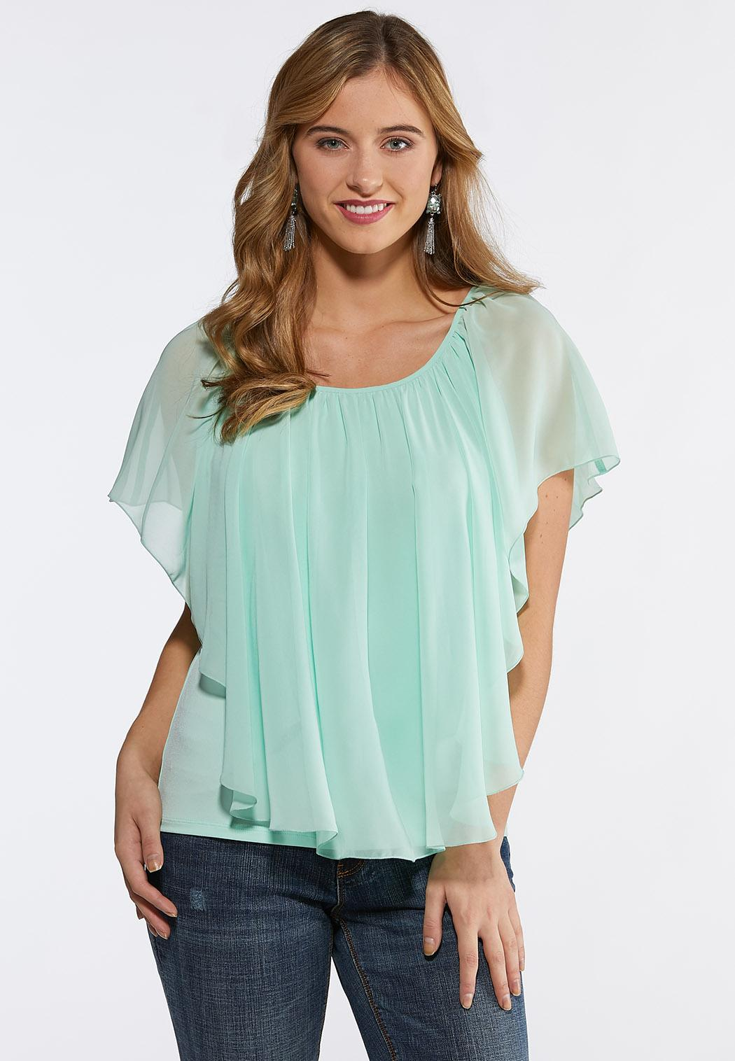 79504572e33 Plus Size Sheer Layered Capelet Top Tops Cato Fashions