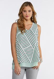 Plus Size Double Layer Printed V-Neck Tank