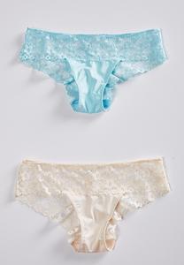 Plus Blue Ivory Lace Panty Set
