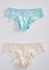 Plus Blue Ivory Lace Panty Set