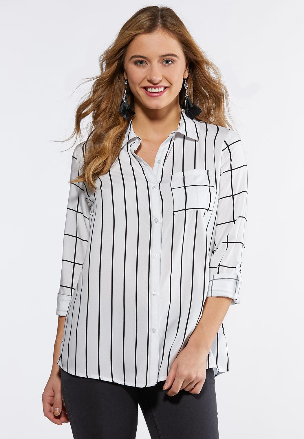 09e7fbfa7b22e Plus Size Plaid Stripe Mix Tunic Shirts   Blouses Cato Fashions