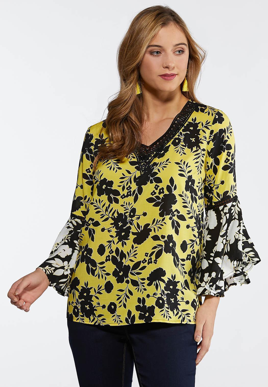 c4df1f614c06e Plus Size Garden Lace Trim Top Shirts   Blouses Cato Fashions