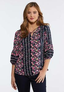 Navy Floral Poet Top