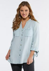 Plus Size Denim Tie Sleeve Tunic
