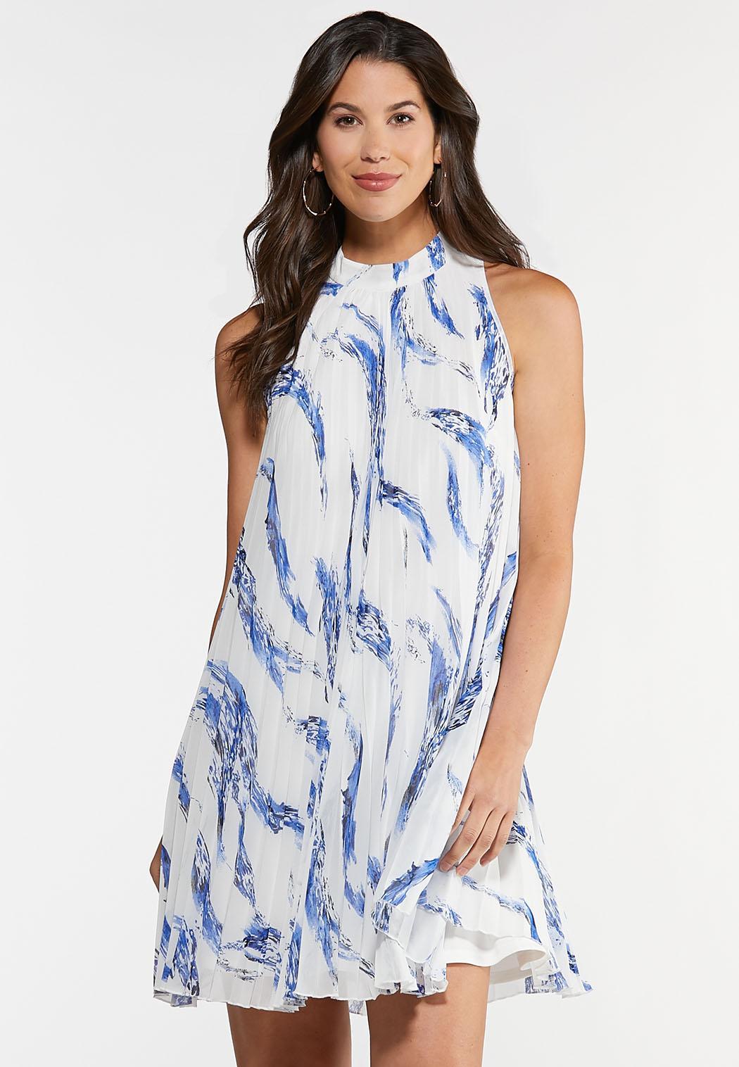 Plus Size Pleated Print Swing Dress