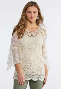 Crochet Mesh Sleeve Top