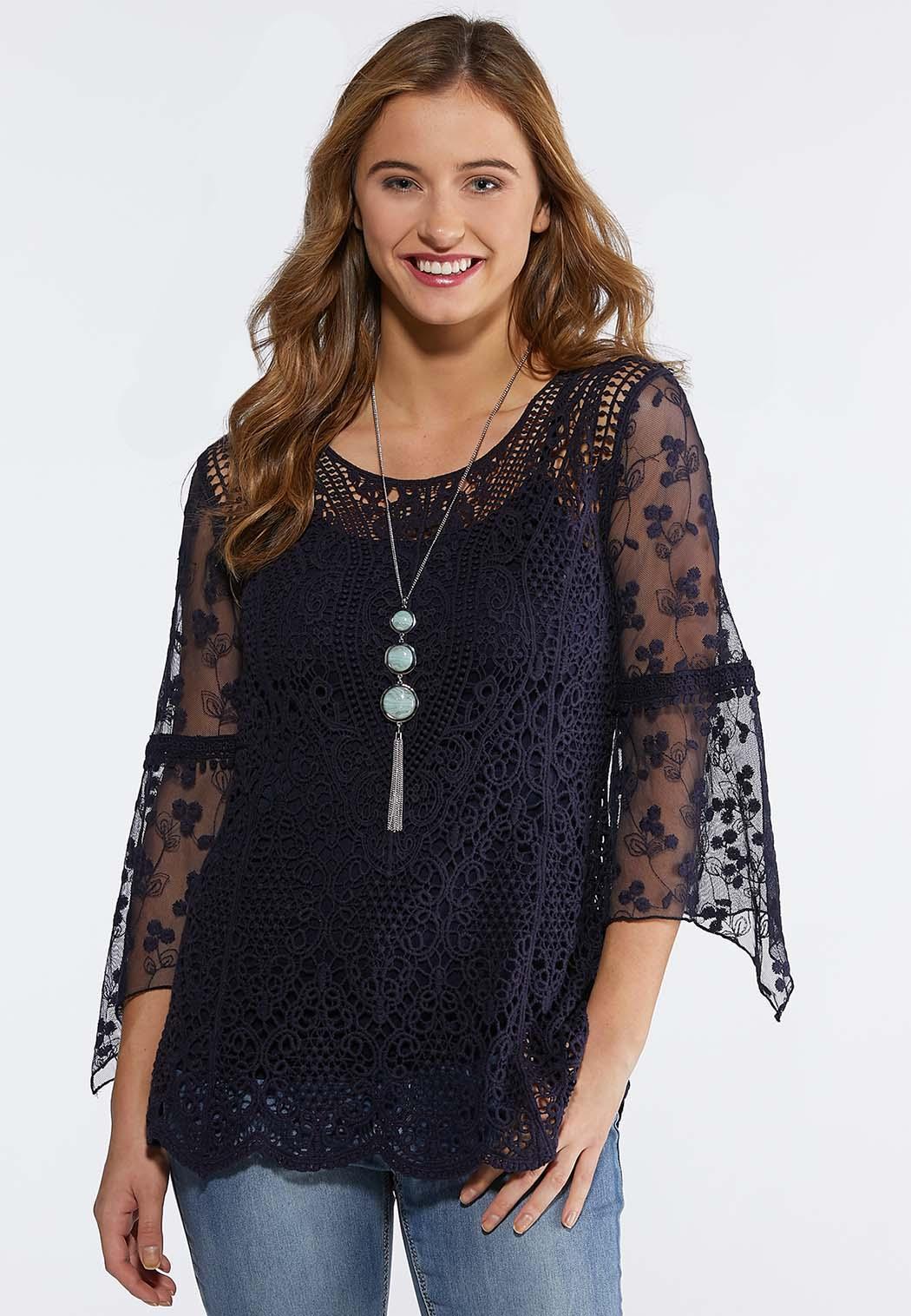 8c8ff1a0275b0d Plus Size Crochet Mesh Sleeve Top Shirts & Blouses Cato Fashions