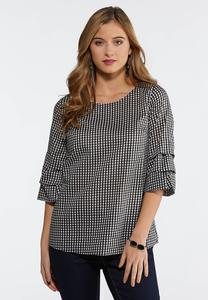 Gingham Ruffled Sleeve Top