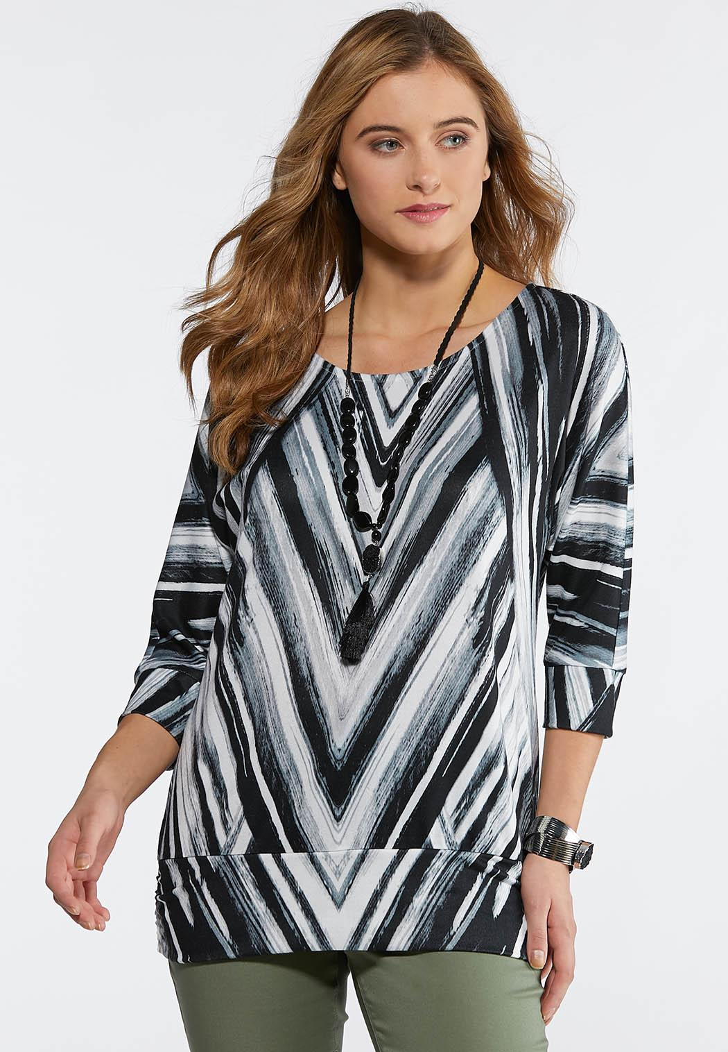 0c2a9ec2bee Plus Size Chevron Banded Hacci Top Tees   Knit Tops Cato Fashions