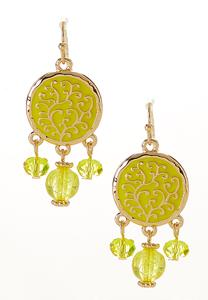 Beaded Enamel Circle Earrings
