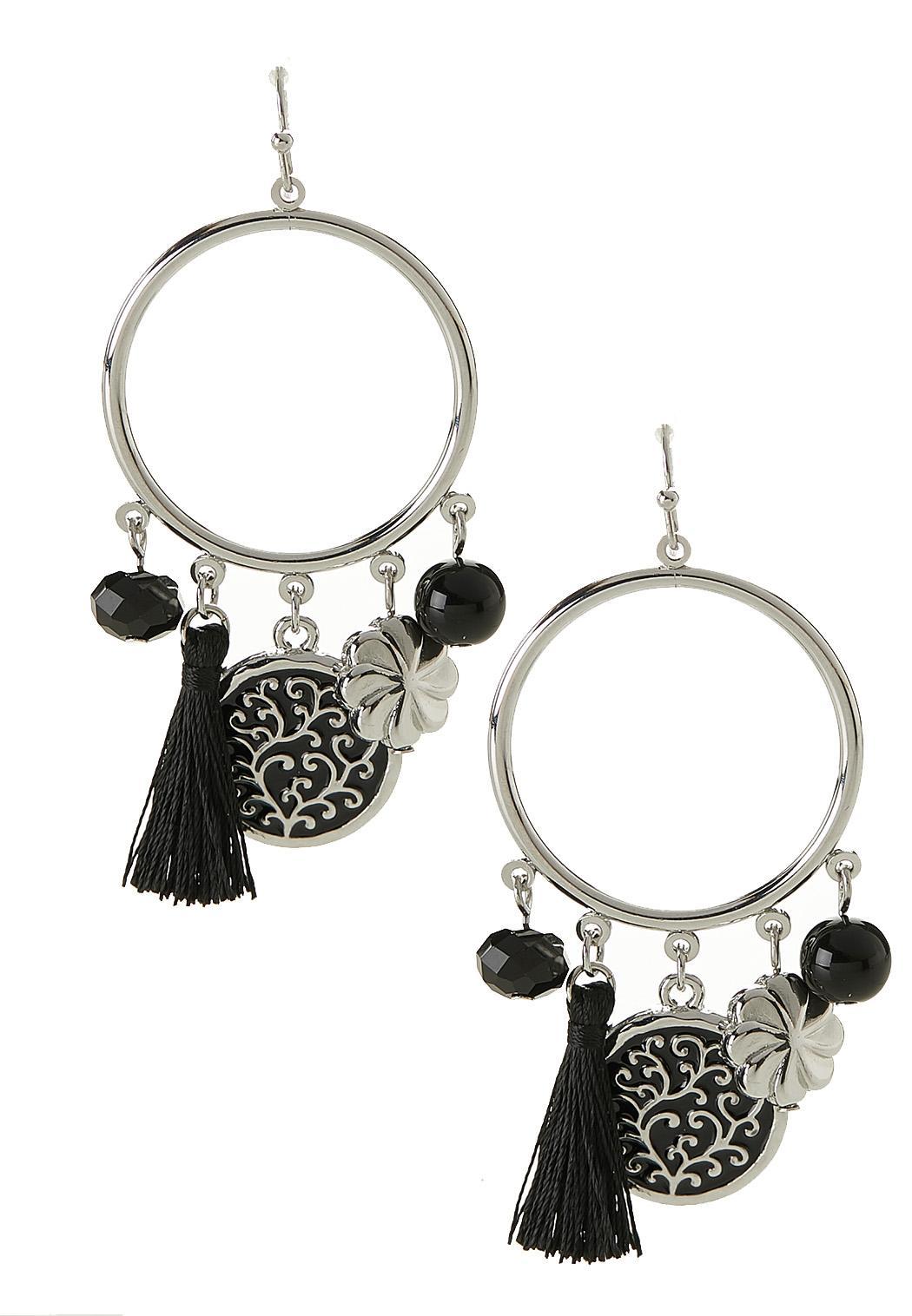 Filigree Enamel Charm Earrings