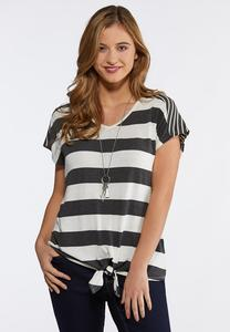 Mix Stripe Tie Front Top