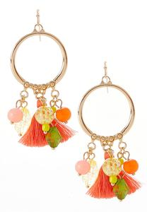 Bead Tassel Hoop Dangle Earrings