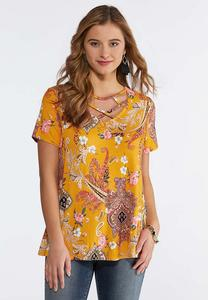 Plus Size Golden Paisley Swing Top