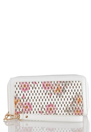 Floral Perforated Wristlet Wallet