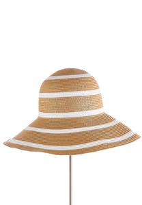 White Striped Floppy Hat