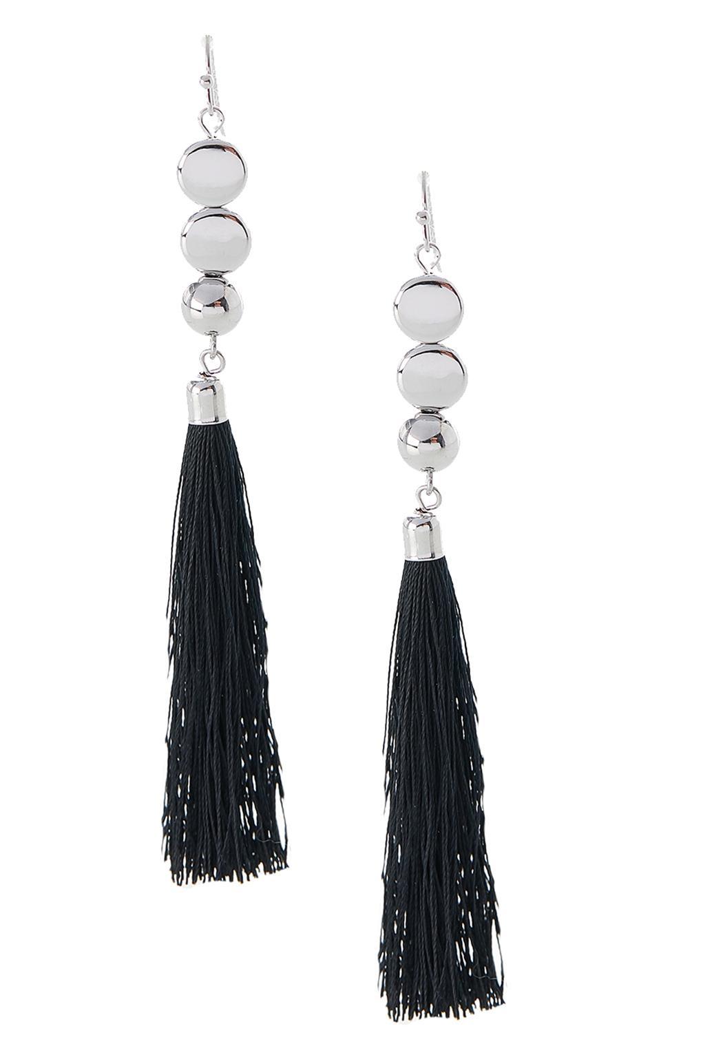 Dangling Disc Tassel Earrings