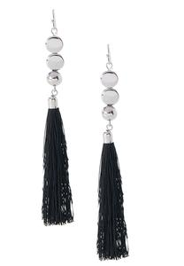 Dangling Disc Tassel Earrings