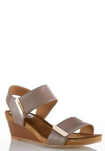 Hardware Strap Wedge Sandals