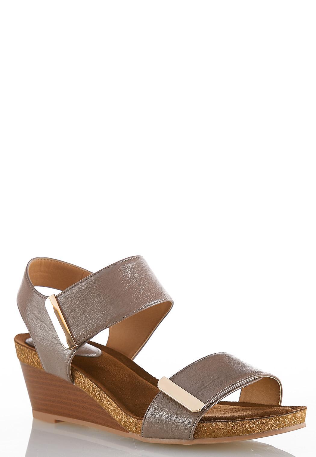 Wide Width Hardware Strap Wedge Sandals