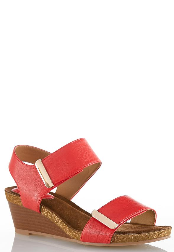 c390e2ac1bc5 Wide Width Hardware Strap Wedge Sandals Heels Cato Fashions