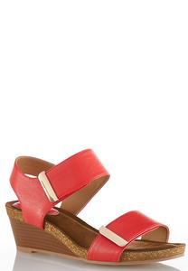 Wide Width Hardware Strap Wedge Sandals