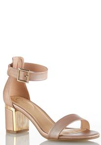 Wide Width Rose Gold Heeled Sandals
