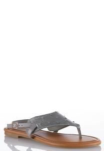 Faux Ostrich Slingback Sandals