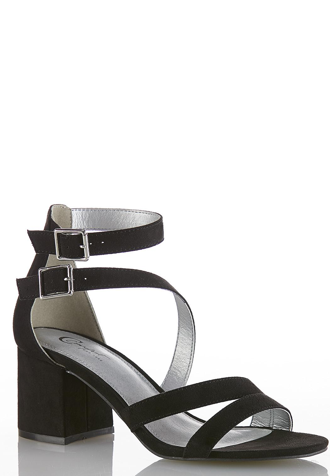 0520b896f Double Buckle Faux Suede Sandals Heels Cato Fashions