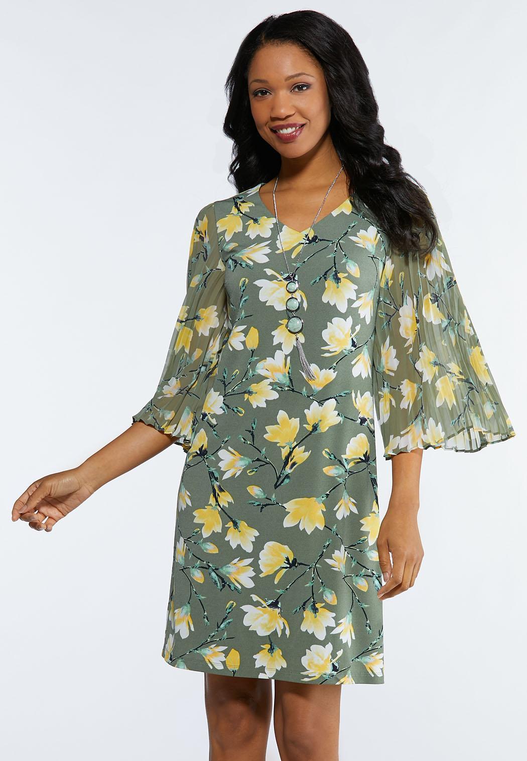 Floral Pleated Sleeve Dress