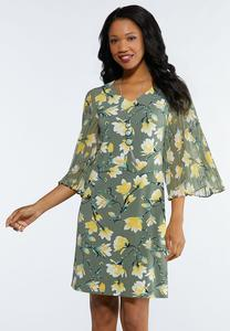 Plus Size Floral Pleated Sleeve Dress