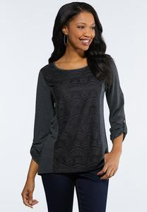 Plus Size Gray Lacy Front Top