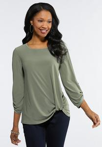 Plus Size Knotted Hem Top