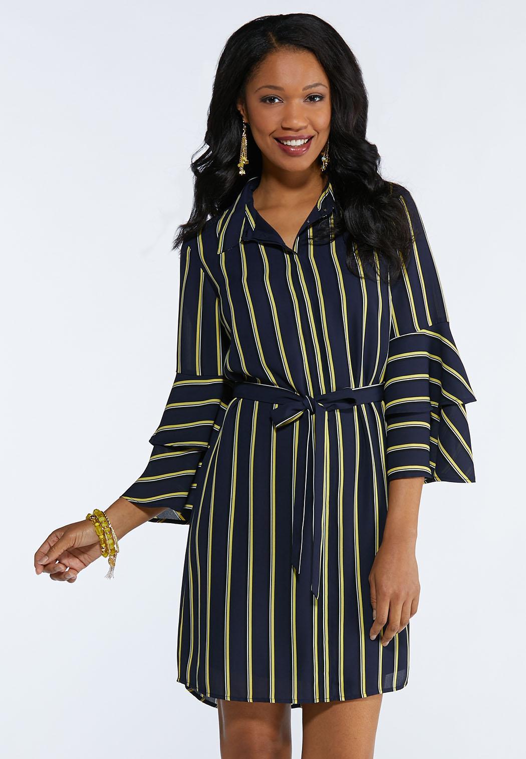 56f0100e2ed Stripe Bell Sleeve Shirt Dress Junior Misses Cato Fashions
