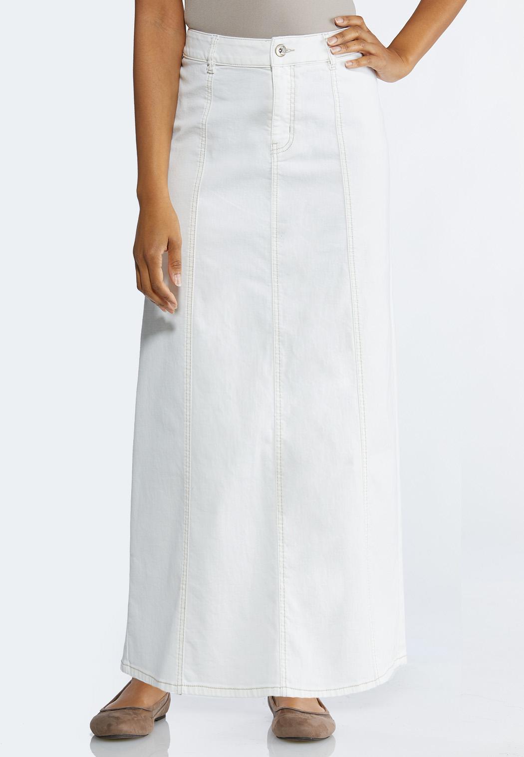 5cea2e1b7 Plus Size White Denim Maxi Skirt Skirts Cato Fashions