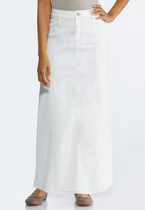 Plus Size White Denim Maxi Skirt