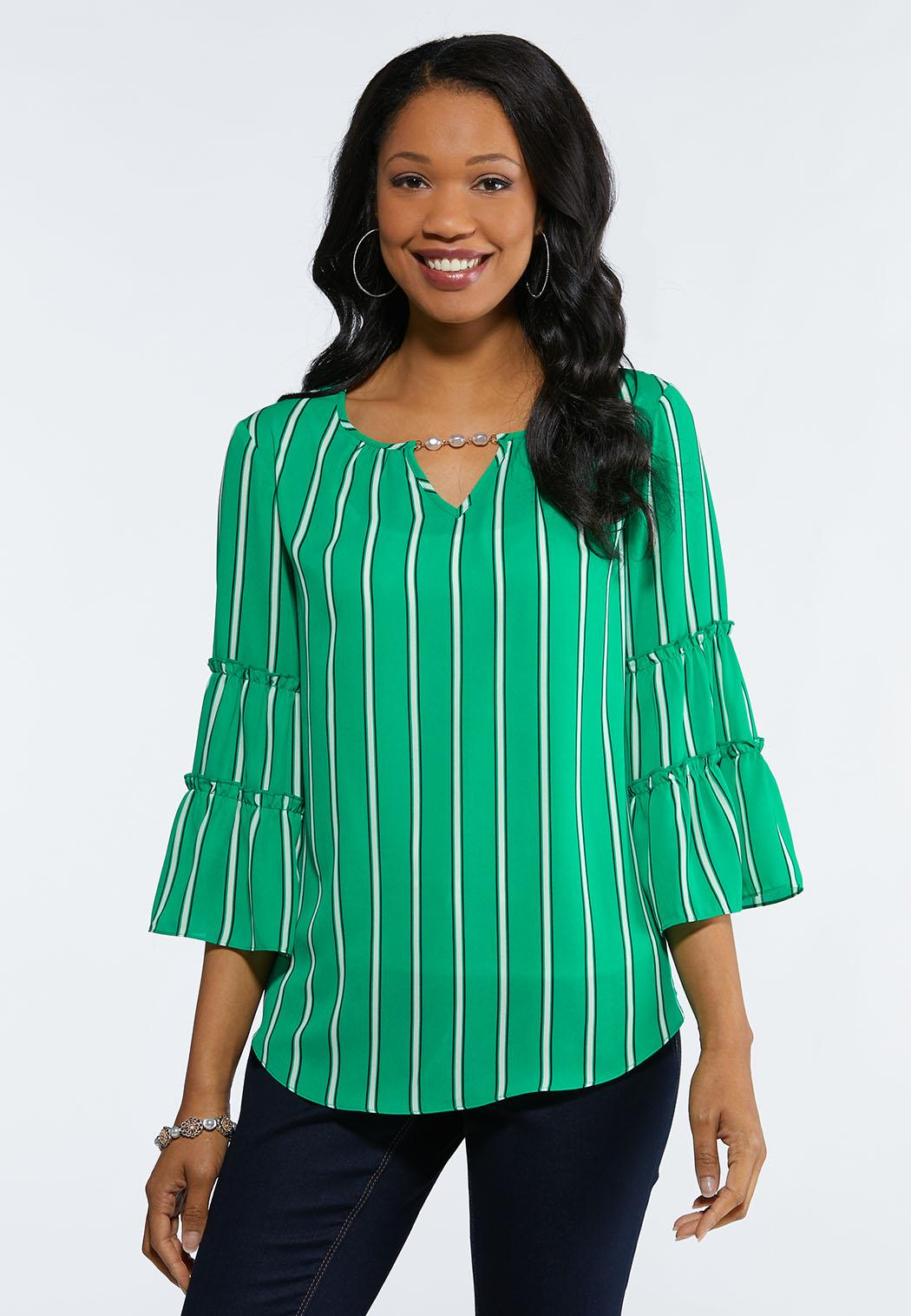 7ab227da26c Plus Size Green Ruffled Top Tops Cato Fashions