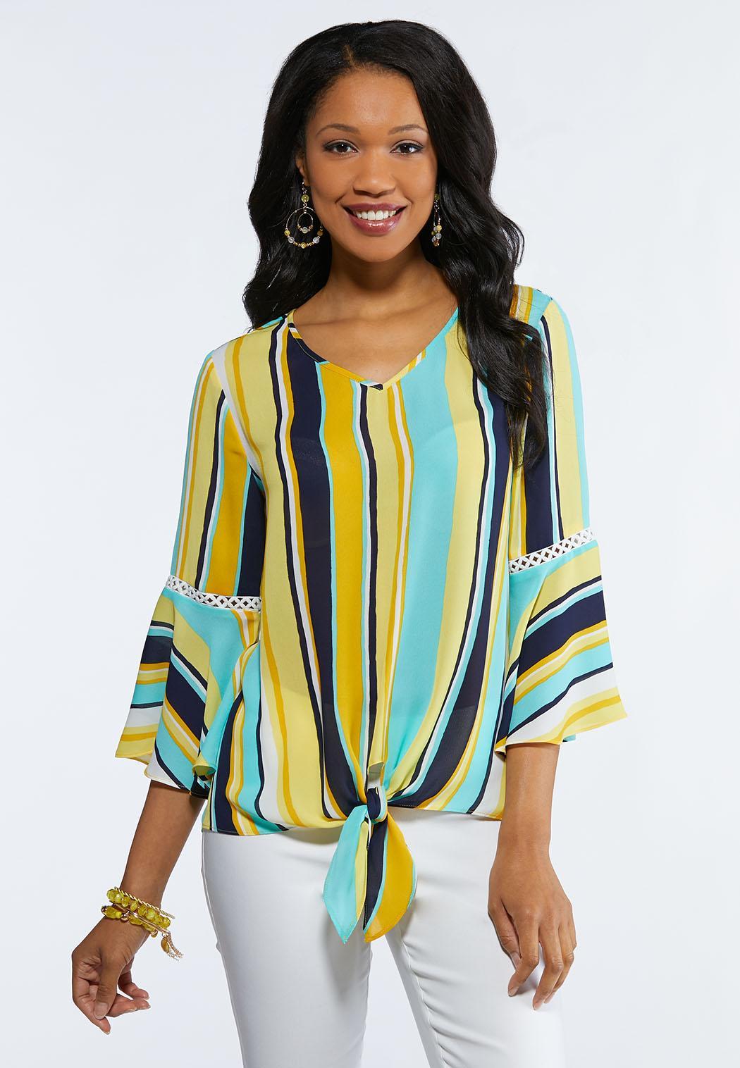 d4ca77f4687 Gold Stripe Tie Front Top Tops Cato Fashions