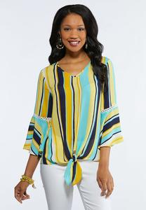 Gold Stripe Tie Front Top