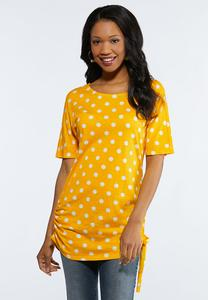 Dotted Cinch Tie Top