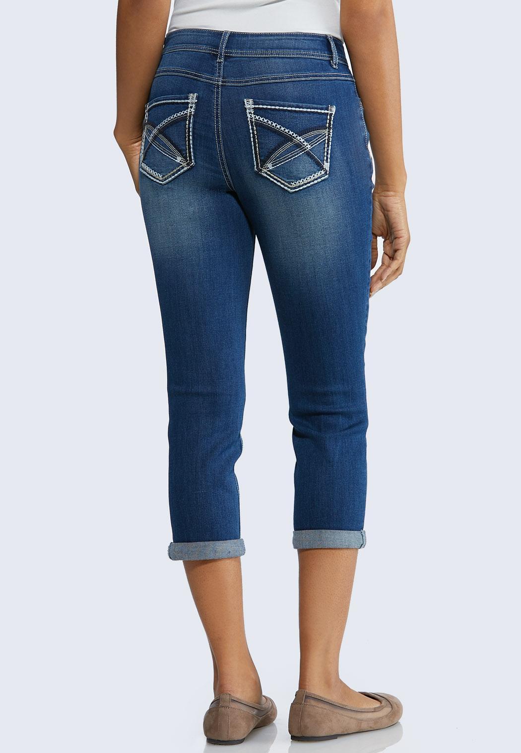 Cropped Stitch Pocket Jeans